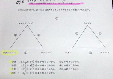 H21秋期戦組み合わせ